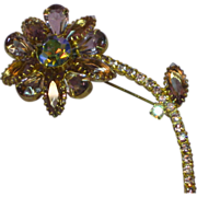 Juliana D&E Sumptuous Vintage  Flower Brooch Wisteria Colors  Stones AB Rhinestones