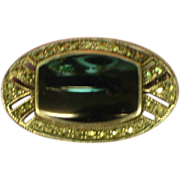 Marcasite Oval with Onyx Sterling Silver Mourning Pin Brooch.