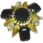 Schreiner Epically Styled Rhinestones Black and Gold Large Brooch Pin