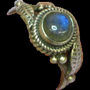 Gemstones Labradorite Deep Blue Sterling Silver with Leaf Design Ring.