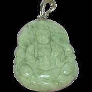 Jade Quan Yen Figure Sterling Silver Enhancer Large Carved Natural Gemstone Attachment Pendant