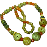"""Jade  Pierced and Carved Chinese Large Bead Necklace Incredible Multi Color Mix Size 24"""""""