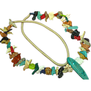 SALE Native American Indian Carved Gemstone Stacked Fetish Necklace
