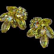 Juliana, D&E Yellow and Gold A/B Rhinestone Clip Earrings.