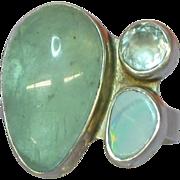 SOLD Elligators Designer Sterling Silver ,Moonstone,Opal and Blue Topaz Ring