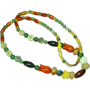 """SALE Jade Beads Incredible Multi Color Mix Sizes 27"""" Necklace"""
