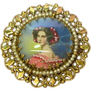 SALE 14K Solid Gold Fine Hand Painted Miniature Portrait Vintage Pin / Brooch / Pendant