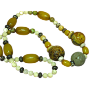 """Jade Pierced and Carved Chinese Large Bead Necklace Incredible Multi Color Mix Amber Size 26"""""""