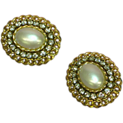 Rhinestones Pearl Gorgeous Big Bold Simulated  Vintage Clip Earrings