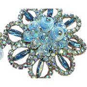 Art Glass,Givre Glass,Dangle Blue Rhinestones Brooch and Earrings Demi Parure