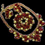 Juliana D&E DeLizza & Elster  Red Aurora Borealis Rhinestones  and Pearl Necklace Pin Brooch a