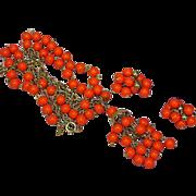 Kramer Lucite Orange Necklace and Pierced Earrings Set Demi Parure