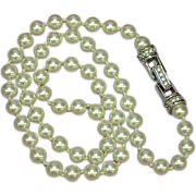 Swarovski Marked Stunning White ,Hand Knotted Pearls Necklace