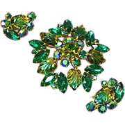 Rhinestones Molded Givre Glass Leaves,Brooch,Pin,Earrings,Demi Parure