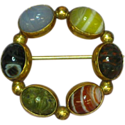 Gold Filled Genuine Stone, Banded Agate Carved Scarab Pin Brooch