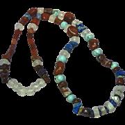 """SALE Gemstones Chunky Chinese Turquoise Onyx Lapis Agate 24"""" Southwest Necklace"""