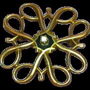 SALE 10K Yellow Gold, Vintage Estate Swirl Pin with Diamond
