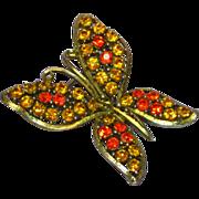 Rhinestones Bright Orange Topaz Butterfly Figural Pin Brooch