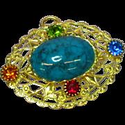 Czech Filigree Rhinestones Art Glass Faux Turquoise Brooch Pin Pendant