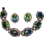 Art Glass Blue-Green,Givre Silver-tone,Bracelet and Earrings Demi-Parure