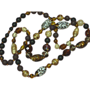 Art Glass Hand Made Glass Beads Crystal and Brown Bead Gablonz c.1930's Necklace