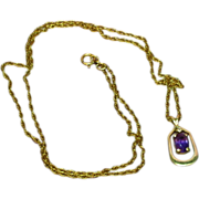 14K Gold Pendant Diamond Genuine Amethyst on 14K Gold Filled Chain Necklace