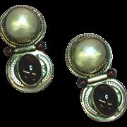 Mabe Pearl & Garnet Sterling Silver Signed Designer Pierced  Earrings