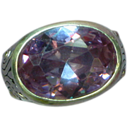 Stunning Sterling  Silver Synthetic Amethyst High Set Ornate Ring
