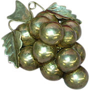 Mexican Mexico Taxco Signed Large Sterling Handmade Grape Motif with Vines Brooch Pin