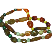 """Mix Beads Chunky Carved Agate Bead Incredible Multi Color Mix Sizes 26"""" Necklace"""