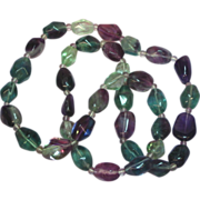 "SALE Tourmaline Fluorite Amethyst Aventurine Chunky Polished Stones 24"" Necklace"