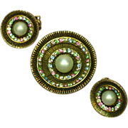 Rhinestones and Pearl Round Pin Brooch and Clip Earrings Set Demi Parure