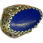 SALE Gemstones Lapis Genuine Stone Filigree Bold Large Estate Sterling Silver Ring