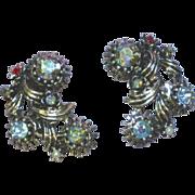 Regency Wonderful  Vitrail Rhinestones Clip Earrings