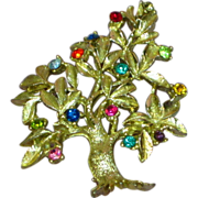 Rhinestones Dodds Signed Tree of Life Gorgeous Estate Brooch Pin