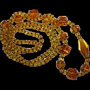 SALE 50% OFF SALE Art Deco Amber Glass Crystal Bead Crystal Sautoir Flapper Necklace Handmade