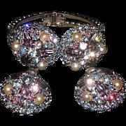 SALE Hattie Carnegie Signed Rhinestone Clamper Bracelet,Clip Earrings Demi Parure