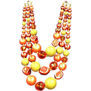 SALE 50% OFF SALE Japan,Oranges and Cream Yumm Bead Triple Strand Big Beads Necklace