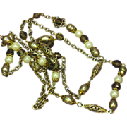 REDUCED Smoky Quartz  Crystal  Peacock Color Cultured Pearls  Golden Green  Sautoir  43""