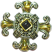 Piscitelli,Signed Maltese Cross Black Pyramid Onyx Pin,Brooch