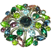 Rhinestones Sensational Large 3-D Purple Blue Green Round Pin Brooch