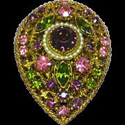 Florenza Purple Pink And Green Rhinestone Vintage Pin Brooch