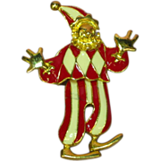 Enamel  Articulated Dancing Clown Jester Pin Brooch