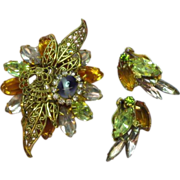 Vintage Fantastic Rhinestone Unsigned Designer D&E Quality Dimensional Brooch and Earrings Dem