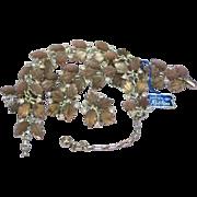 Robbins NOS Lavender Art Glass Necklace,Bracelet and Earrings Demi Parure