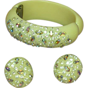 Weiss Rhinestones Clamper Bracelet and Earrings Demi Parure Vintage