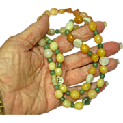 "Jade Mix Beads Carved Jade Bead Incredible Multi Color Mix Sizes 26"" Necklace"