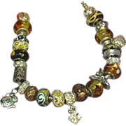 SALE Murano Art Glass Boro Beads 'Wild Side' Pandora Style Silver Bracelet