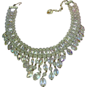SALE Vendome BOOK PIECE Drippy Faceted A/B Crystal Bib Necklace