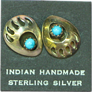 Native American Indian Sterling Silver Bear Claw Shadow Box Sleeping Beauty Turquoise Pierced
